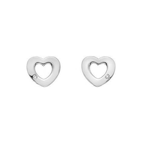 Hot Diamonds Strieborné srdiečkové náušnice s pravými diamantmi Amulets DE616