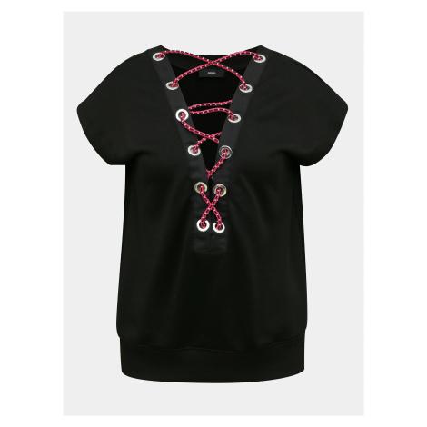 Čierne dámske tričko s detailmi v dekolte Diesel