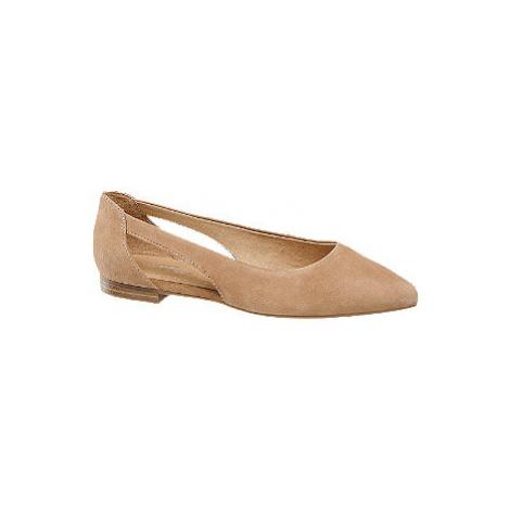 Béžové kožené baleríny 5th Avenue Soft