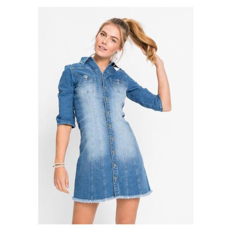 Džínsové šaty s 3/4-rukávom bonprix
