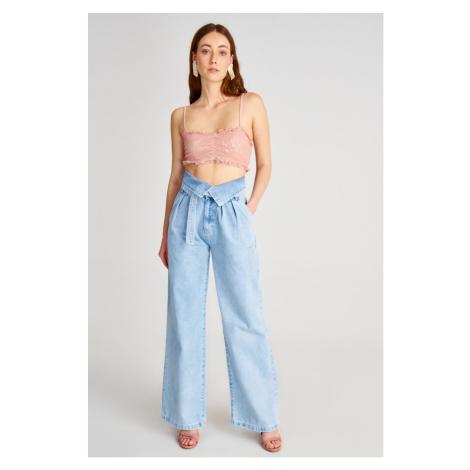 Trendyol Blue Belt Waist Detailed Super High Waist Wide Leg Jeans Navy