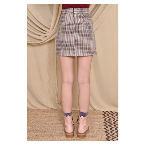Béžová kockovaná krátka sukňa so zipsom