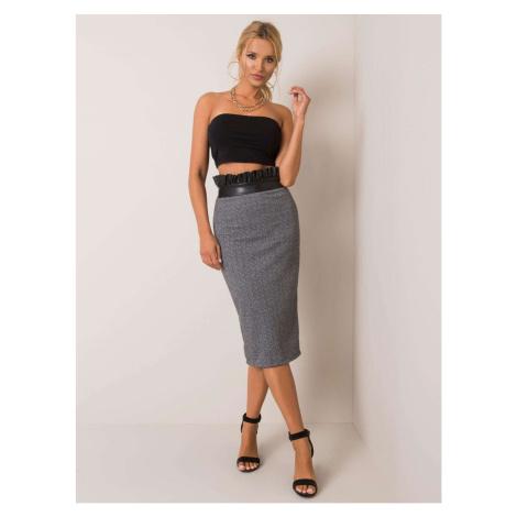 Gray herringbone midi skirt