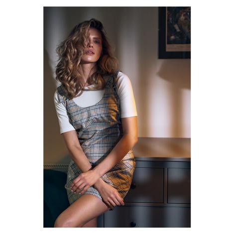 Hnedo-sivé kárované šaty na traky M736 Figl