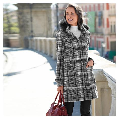 Blancheporte Kabát duffle-coat s potlačou kocky a s kapucňou čierna/biela