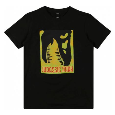 Mister Tee Tričko 'Jurassic Park'  čierna / svetlozelená / horčicová / karmínovo červená