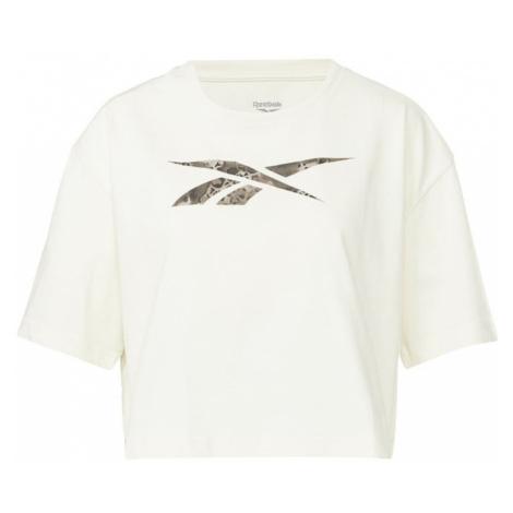 Reebok Sport Funkčné tričko  biela / sivá / olivová