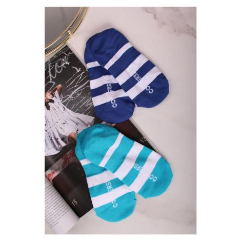Dámske modro-tyrkysové členkové ponožky Rugby Stripe Liner - dvojbalenie Converse