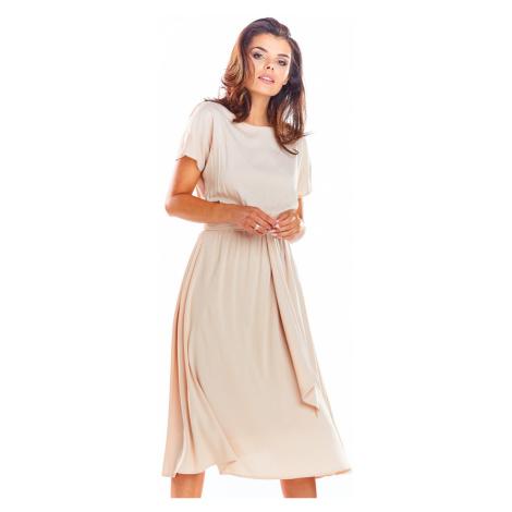 Béžové šaty A296 Awama