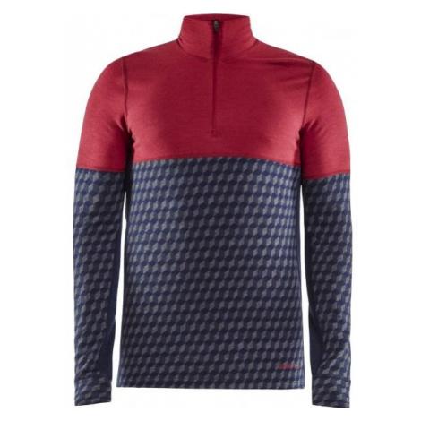 Craft MERINO 240 ZIP LS červená - Pánske funkčné tričko