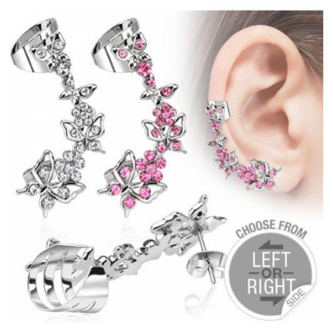 Falošný piercing do ucha z ocele - motýle a kvety so zirkónmi - Tvar: Ľavý, Farba zirkónu: Ružov