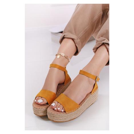 Žlté semišové platformové sandále 72904 Refresh