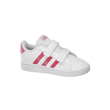 Biele detské tenisky na suchý zips Adidas Grand Court I