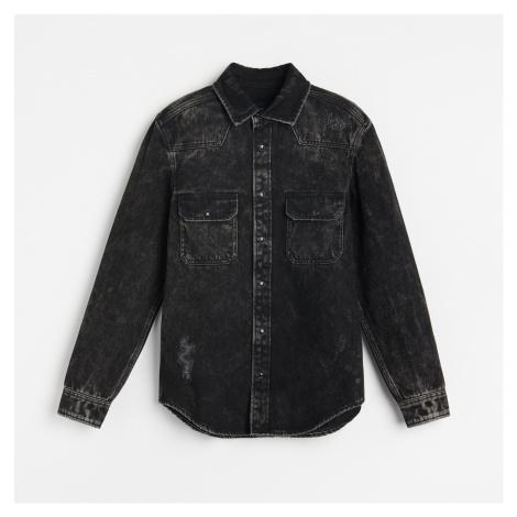 Reserved - Vyšúchaná džínsová košeľa - Čierna