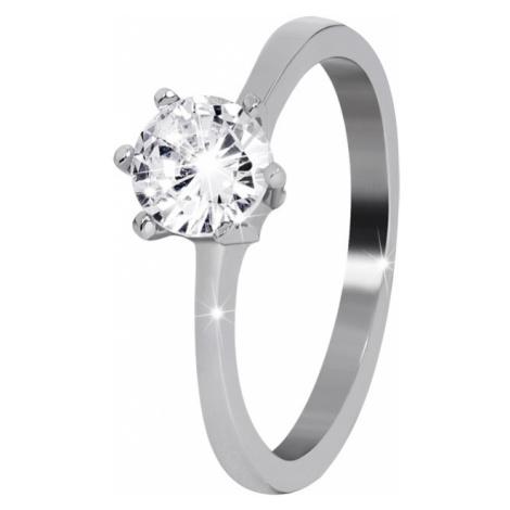 Troli Oceľový prsteň s čírym kamienkom mm