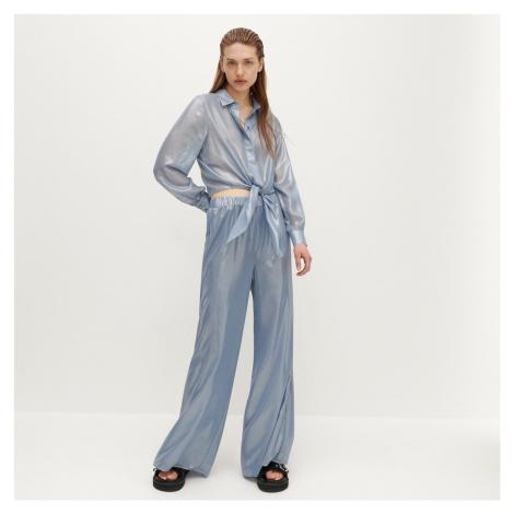 Reserved - Nohavice z lesklej látky - Modrá