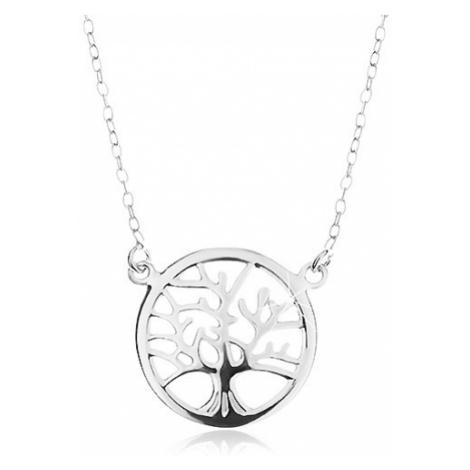 Strieborný náhrdelník 925, retiazka a prívesok - lesklý strom života v kruhu
