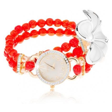 Analógové hodinky, korálkový červený náramok, ciferník so zirkónmi, biely kvet