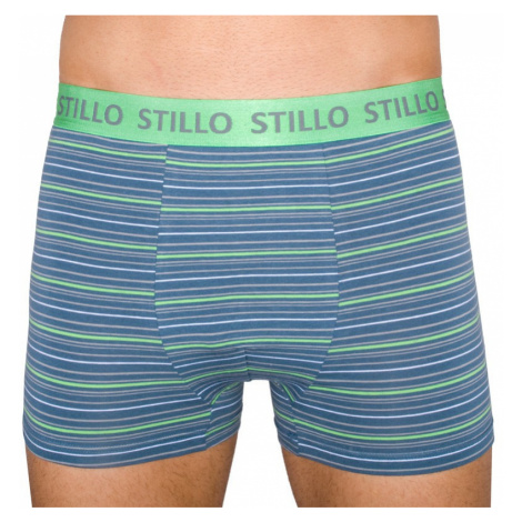 Pánske boxerky Stillo sivé so zelenými prúžkami (STP-010)
