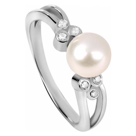Silver Cat Strieborný prsteň so zirkónmi a perličkou SC312 mm