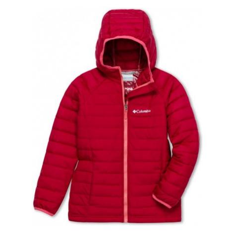 Columbia POWDER LITE GIRLS HOODED JACKET červená - Dievčenská bunda