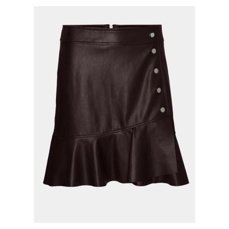 Vero Moda hnedá koženková sukňa Liv
