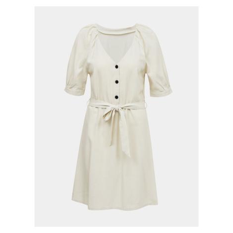Krémové ľanové šaty VERO MODA Day