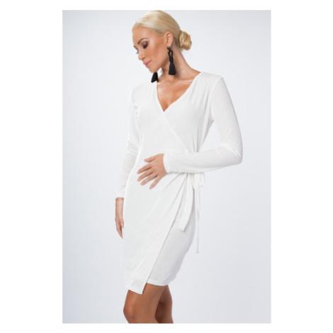 Zamatové, zavinovacie šaty s výstrihom do V, biele FASARDI