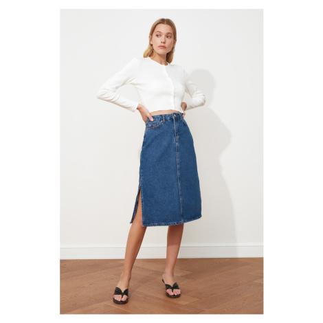 Trendyol Blue Squirt Midi Denim Skirt