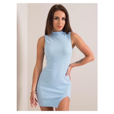 RUE PARIS Light blue fitted pinstripe dress