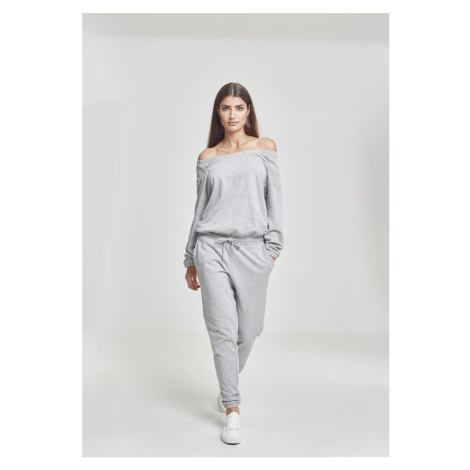 Dámsky overal URBAN CLASSICS Ladies Cold Shoulder Terry Jumpsuit šedý