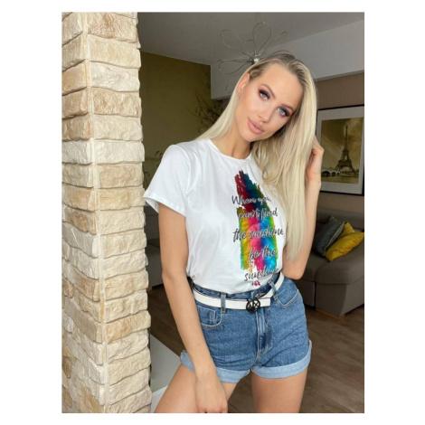 Biele dámske tričko s farebnou potlačou (695ART) Made in Italy