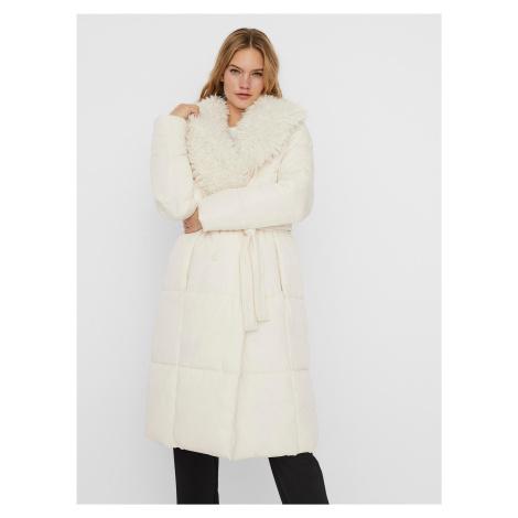 Krémový zimný prešívaný kabát VERO MODA