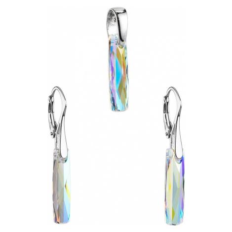 Sada šperkov s krištáľmi Swarovski náušnice a prívesok AB efekt biely hranol 39022.2