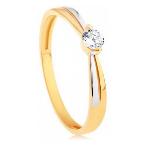 Prsteň v 14K zlate - dvojfarebné ramená, okrúhly žiarivý zirkón čírej farby - Veľkosť: 56 mm