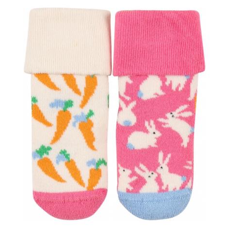 Happy Socks Ponožky  ružová / biela / oranžová / svetlomodrá