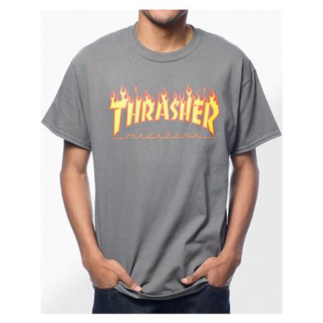 Pánske tričko Thrasher Flame logo charcoal Farba: Šedá