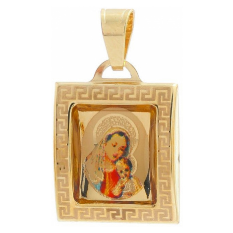 Medailón Panny Márie s dieťaťom zo žltého zlata