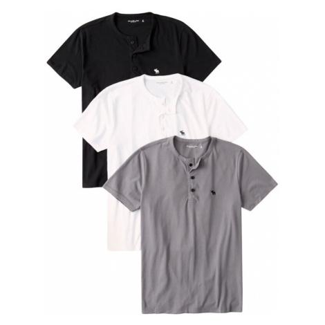 Abercrombie & Fitch Tričko  sivá / čierna / biela