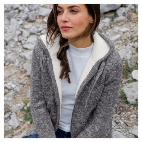 Blancheporte Striekaný sveter na zips, so syntetickou kožušinou sivý melír