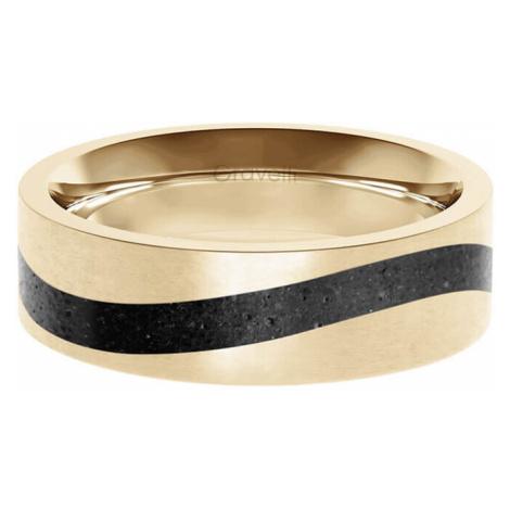 Gravelli Betónový prsteň Curve zlatá / antracitová GJRWYGA113 mm