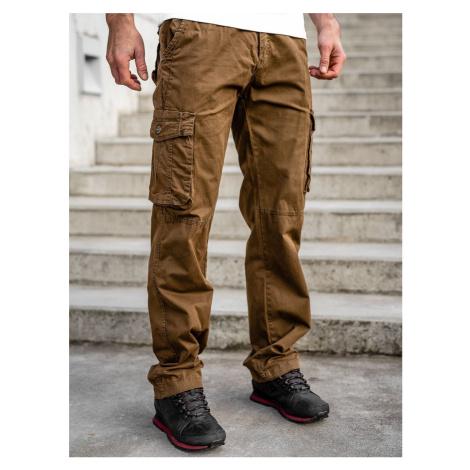 Hnedé pánske kapsáčové nohavice s opaskom Bolf CT8906