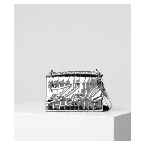 Kabelka Karl Lagerfeld K/Signature Croco Sm Sb - Šedá