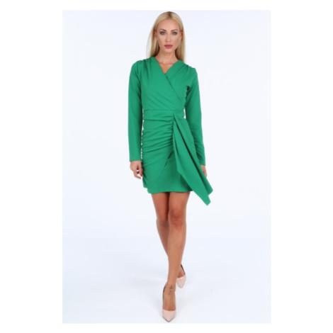 Zelené krátke letné dámske šaty s dlhými rukávmi FASARDI