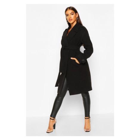 Kabát vlneného vzhľadu s golierikom Boohoo