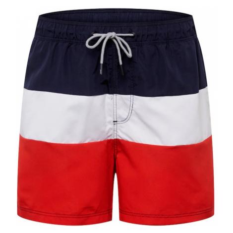 JACK & JONES Plavecké šortky 'Iaruba'  biela / červená / námornícka modrá