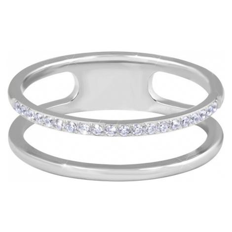 Troli Dvojitý minimalistický prsteň z ocele Silver mm