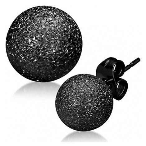 Trblietavé oceľové náušnice - čierne pieskované guličky, puzetky
