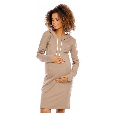 Tmavobéžové tehotenské šaty 1580 PeeKaBoo