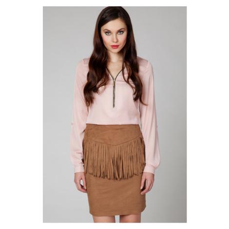 Škoricová semišová sukňa ASP0018 Ambigante